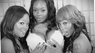 Three hot black chicks and their toys