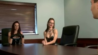 Two mistress with latex and glove (freetime in office)