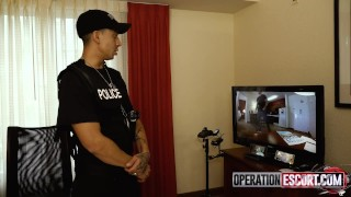 The squad of cops caught and fucked 18-year-old slut Kenzie Reeves