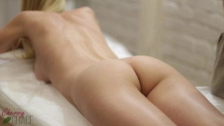 Sensual massage for beautiful blonde with hairy pussy.