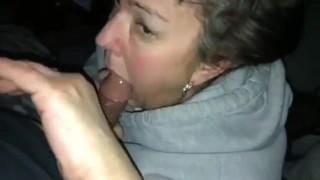 Older neighbor sucks my cock