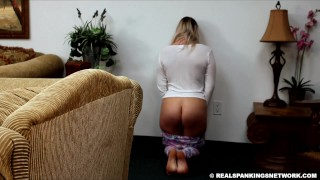 Sexy blonde gets good spanking on bare ass